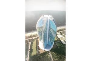 Architekturvisualisierung Supercell Turm an der Küste von Dubai