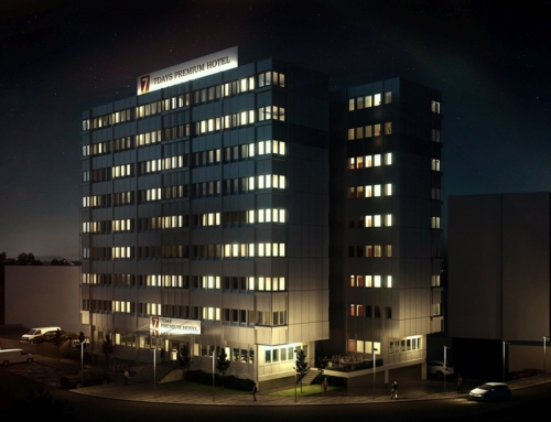 3D Visualisierung des 7 Days Premium Hotel in Offenbach als Dämmerung Darstellung