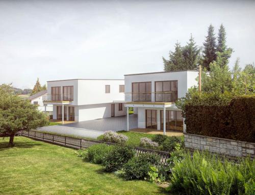 3D Renderings mit Fotomontage, Balsthal / Schweiz. Tageslicht-Szene eines Wohngebietes mit 2x MFH