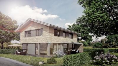 3D-Visualisierung Musterhaus in Poing bei München . Freistehend in wohnlicher Situation, ohne Nachbargebäude