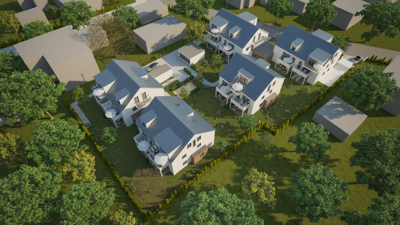 3D Rendering als Vogelperspektive, Neubau einer Wohnanlage mit 5 Häuser und 29 Wohneinheiten in 85077 Manching bei Ingolstadt