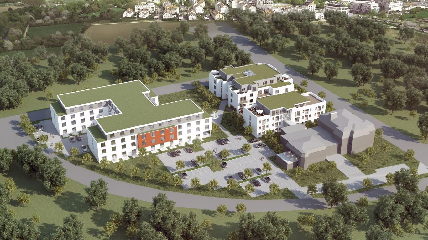 3D Rendering eines Hotel mit betreutem Wohnen und modernen Seniorenzentrum in Karben