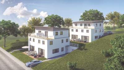 3D Visualisierung Doppelhaus + Dreifamilienhaus mit Hanggarage Am hohen Gstad, Doppelhaus in 84030 Landshut