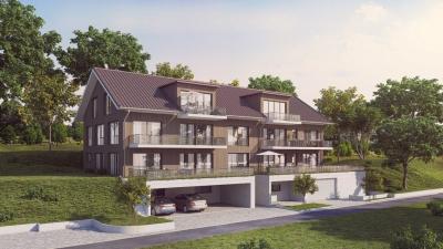 3D Visualisierung zum Neubau eines Mehrfamilienhaus mit Einstellhalle in Hübeligässli, 3207 Golaten, Schweiz