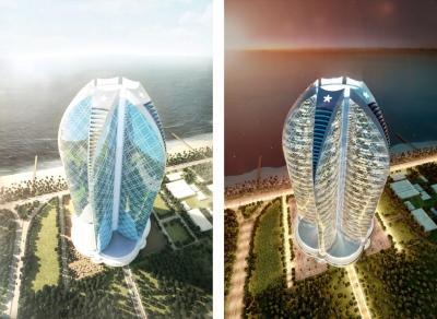 Architektur Visualisierung Tageslicht und Daemmerung des Supercell Towers an der Küste von Dubai
