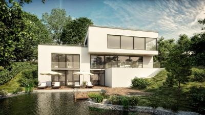 Architektur Visualisierung zur Neuplanung eines Wohnhauses mit Schwimmteich