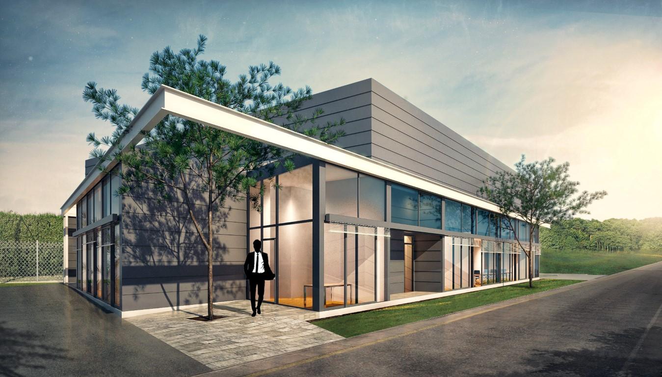 Architekturvisualisierung Tageslicht-Szene einer Lagerhalle mit Büro- und Sozialtrakt mit Umgebung 89129 Langenau