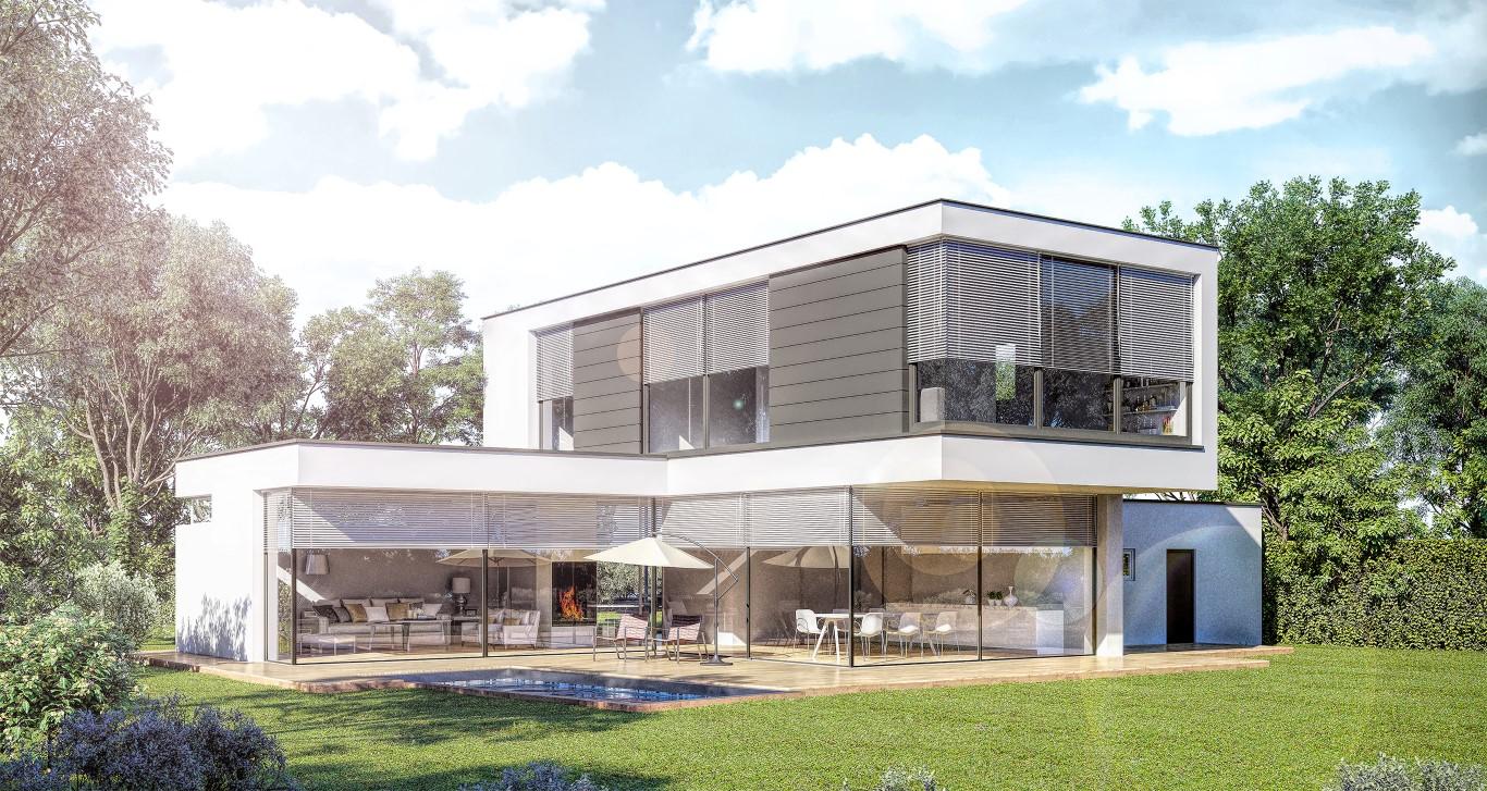 Architekturvisualisierungen in Tageslicht eines EFH inklusive Pool und Garten in 31515 Wunstorf