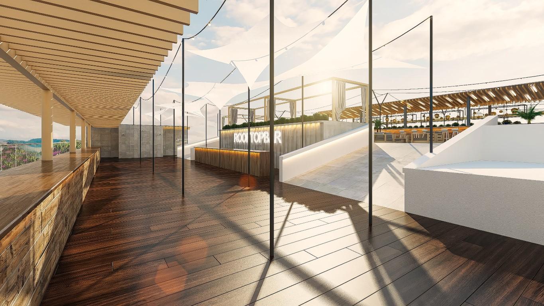 3d visualisierung tageslicht szene einer rooftopbar auf. Black Bedroom Furniture Sets. Home Design Ideas