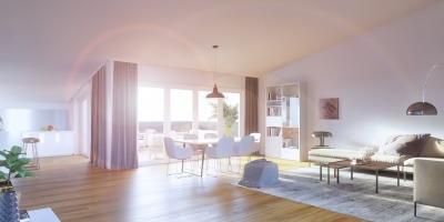 Visualisierung eines Dachgeschoss, Tageslicht-Szene eines Wohnraumes in 75015 Bretten