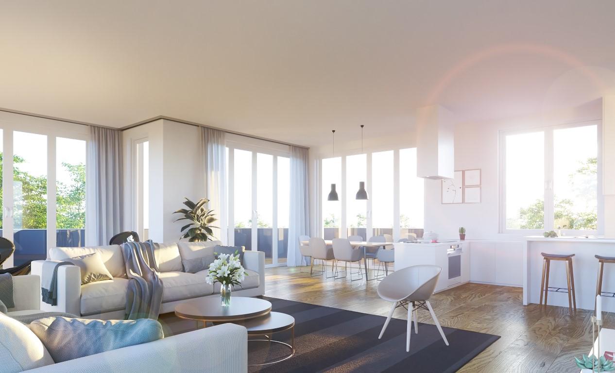Innenvisualisierung eines Wohnzimmers, Tageslicht-Szene eines Wohnraumes in 75015 Bretten