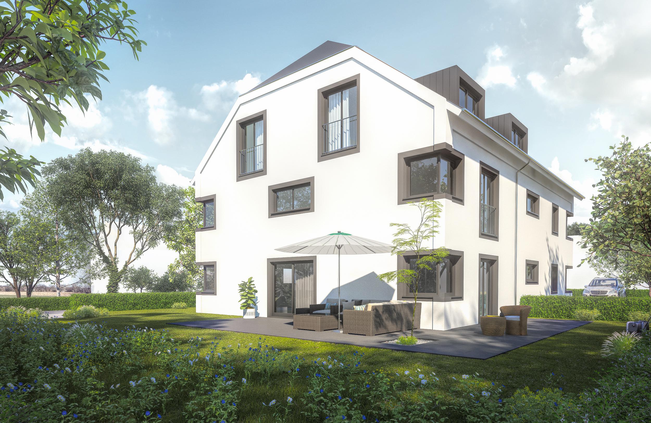 Architekturvisualisierung einer Gartenwohnung exterior