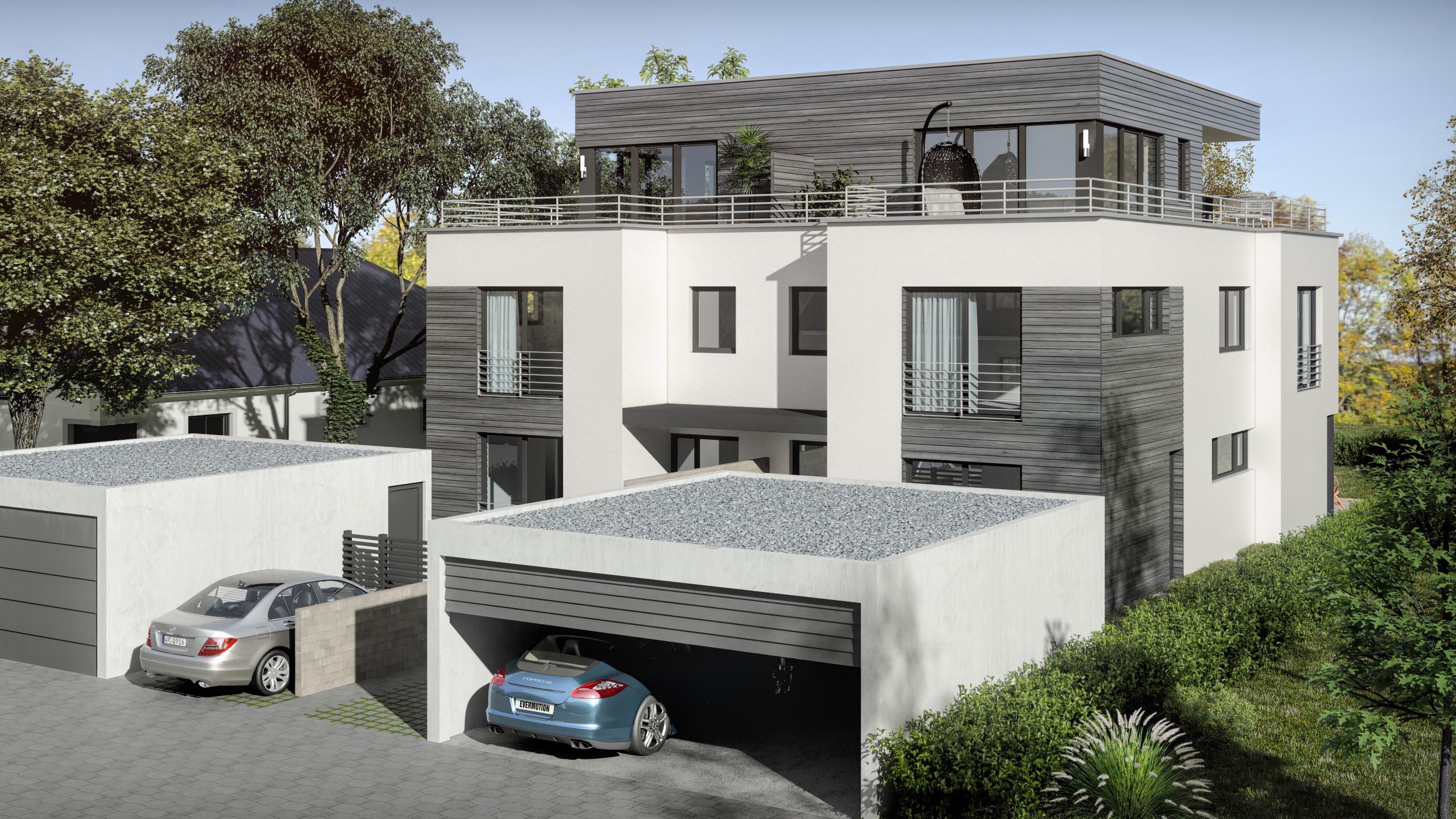 3D renderings eines Doppelhauses 05.07.2018