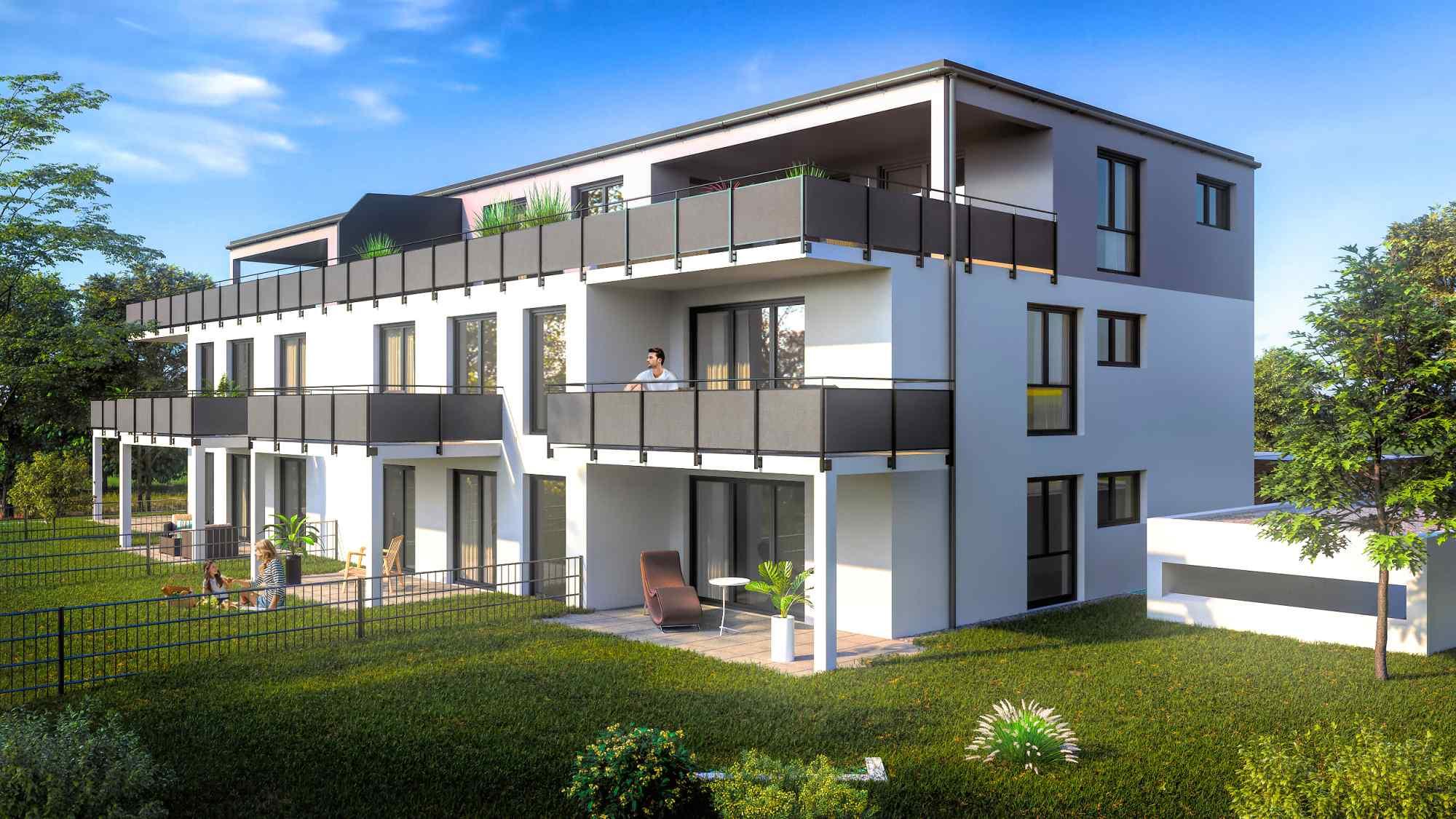 3D Architektur Rendering eines Mehrfamilienhauses