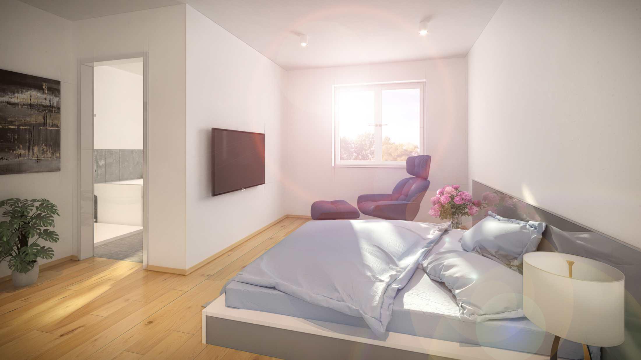 3D Rendering eines Schlafzimmers