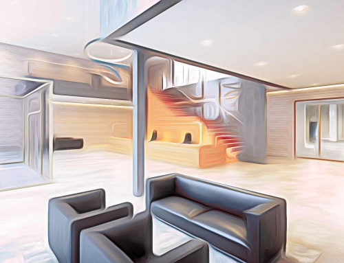 Abstraktes 3D Rendering eines Foyers