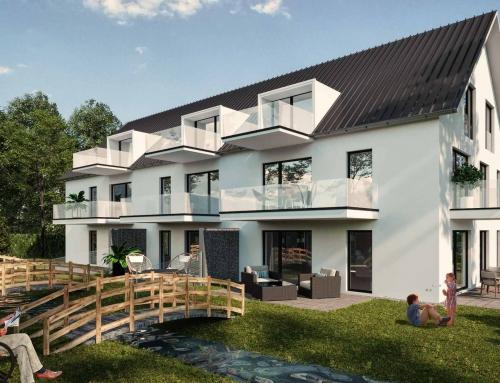 Architektur Rendering eines Mehrfamilienhauses mit Staffagen