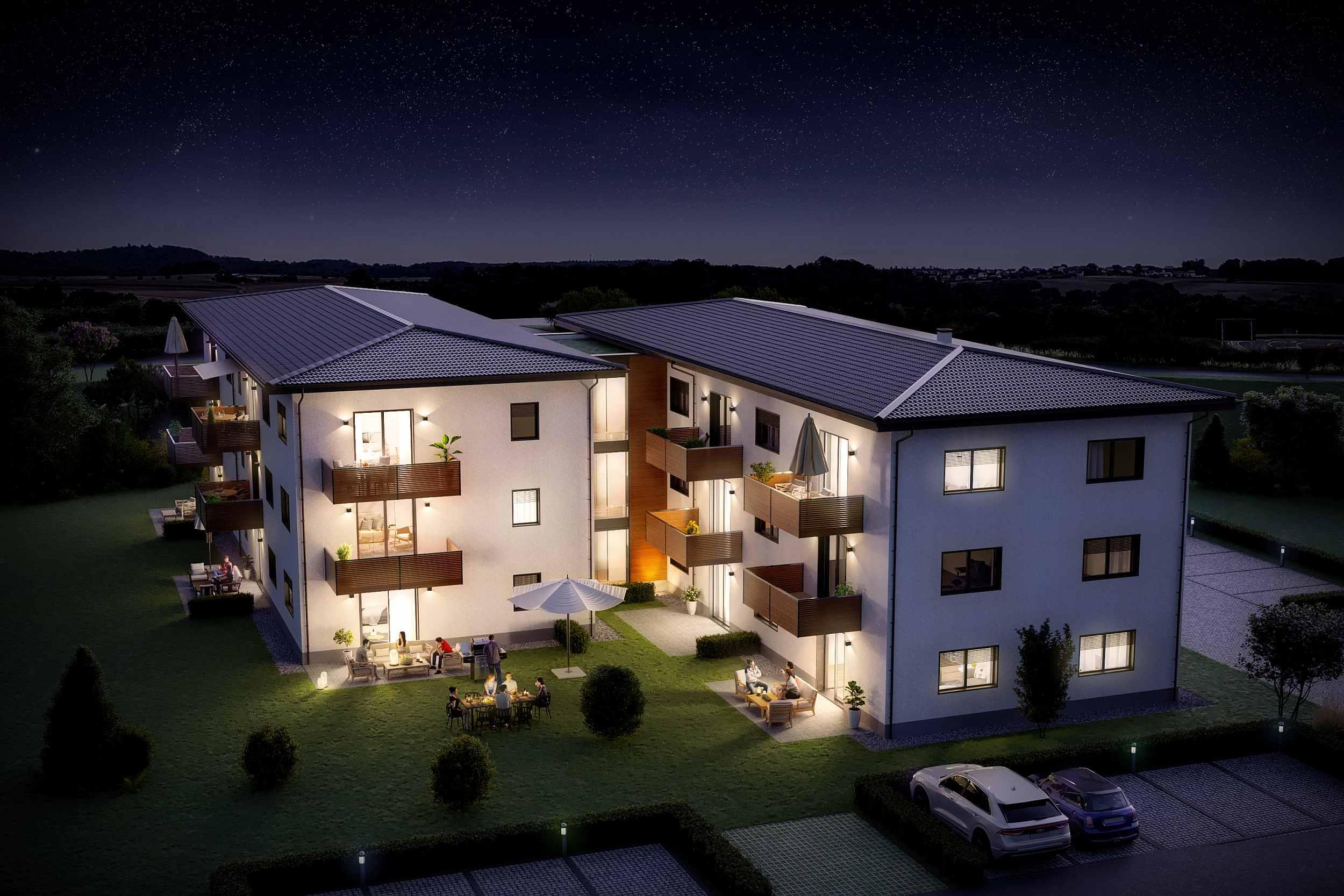 Gebäudevisualisierung als Nachtdarstellung: Als Highlight für den Immobilienverkauf empfehlen wir eine Blickrichtung als Nachdarstellung zu rendern.