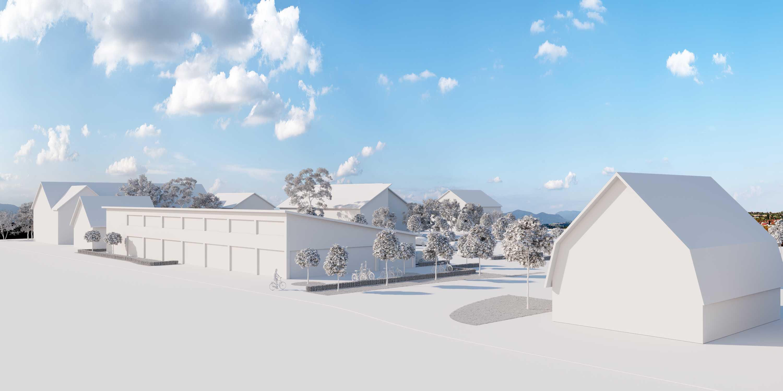 Visualisierung als Volumenmodellum die Größenverhältnisse des geplanten Neubaus mit dem umliegenden Bestand vergleichen zu können.