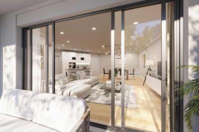 Neubau Visualisierung zur erfolgreichen Immobilienvermarktung. Hier der Blick von der Terrasse nach innen in das Wohn-Esszimmer bis hin zur Küche. Kosten der Visualisierung lagen bei nur 545,-€
