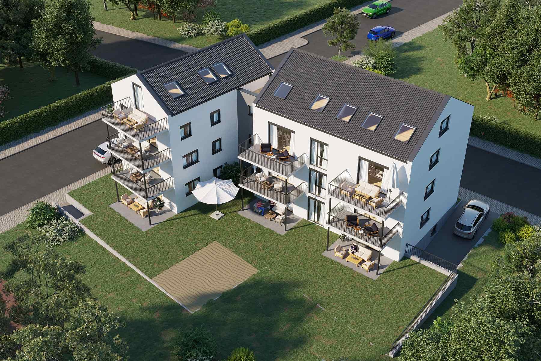 Immobilienberater und Wohnbaugesellschaften benötigen zur erfolgreichen Vermarktung 3D Gebäudevisualisierung. 5x 3D Gebäudevisualisierung für 560,-€/Bild.